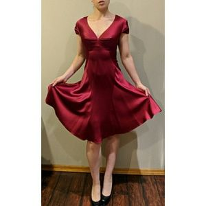 "Zac Posen ""Red Dart"" Silk Fitted Cocktail Dress 6"